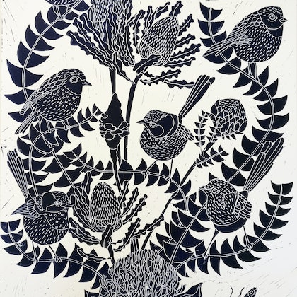Fairy Wren and Banksia Lino print Ed. 12 of 100