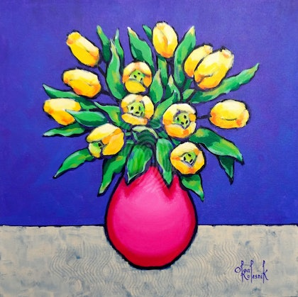 Yellow Tulips in Pink Vase