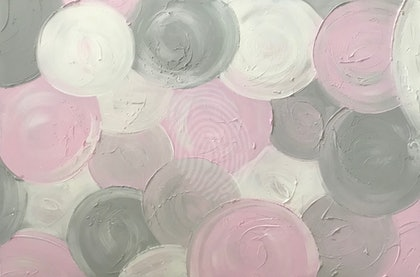 "ORIGINAL ABSTRACT ART PAINTING ON STRETCHED CANVAS ""MARSHMALLOW"" TEXTURED PASTEL PINK GREY GRAY  WHITE  -117"