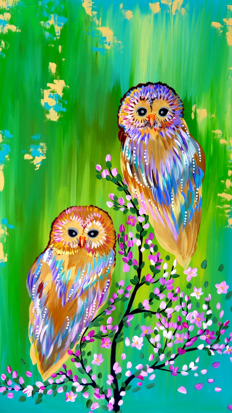 Owls , on Green,  with Cherry Blossoms