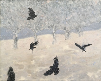 Cat and Crows
