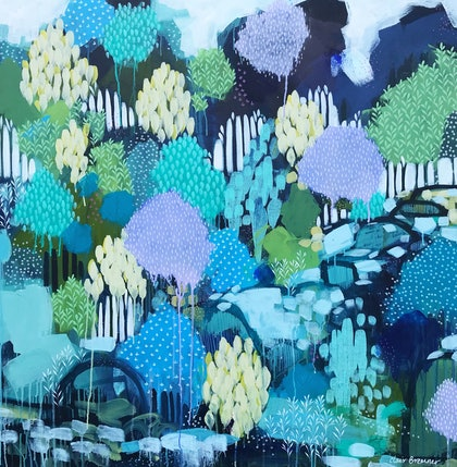 Far Away Place, Blue abstract landscape tree painting by Clair Bremner