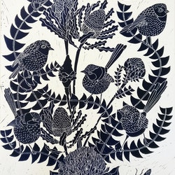 Fairy wren and banksia lino print marinka parnham bluethumb art 329d