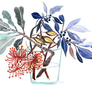 Stenocarpus firewheel and fig in glass vase sally browne bluethumb art 8599