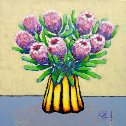 Proteas in Yellow and Black Vase