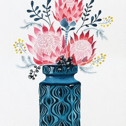 Pink proteas in west german onion vase sally browne bluethumb art e2db