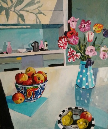 Bowl of Apples with Tulips