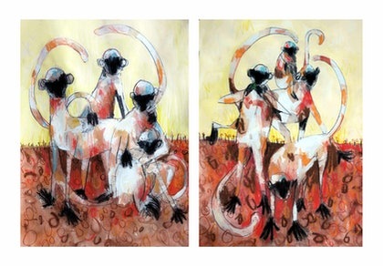 Langur Monkey Number 3 - Diptych - set of 2