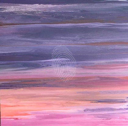 "ORIGINAL ABSTRACT ART PAINTING ON STRETCHED CANVAS  ""TWILIGHT"" PURPLE BLUE SILVER ORANGE PINK WHITE"