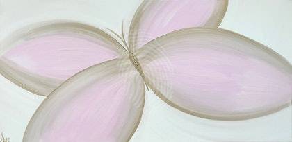 "ORIGINAL ABSTRACT ART PAINTING ON STRETCHED CANVAS  ""TRANSFORMATION""  SOFT  BUTTERFY PINK GOLD CREAM"