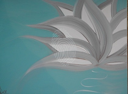 "ORIGINAL ABSTRACT ART PAINTING ON STRETCHED CANVAS  ""ZEN"" LOTUS FLOWER TURQUOISE SILVER WHITE"