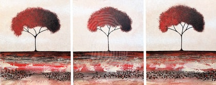 My Eternal Flame Trees - set of three paintings total size 83cm x 51cm