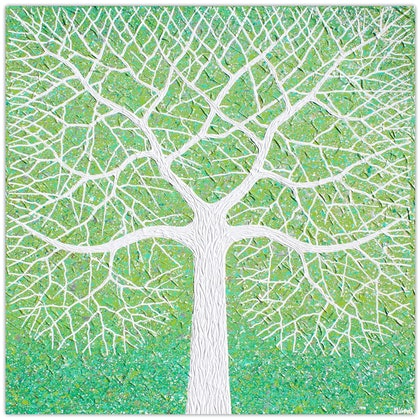 Tree - Spring Tree in Field (textured abstract)