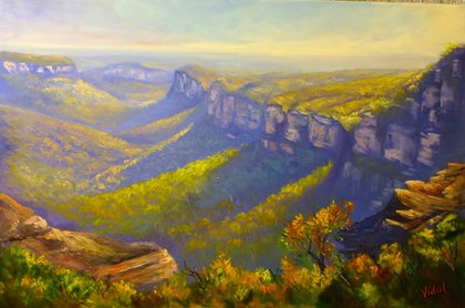 View of the Grose Valley from Mount Banks Traverse - oil on canvas ready to hang