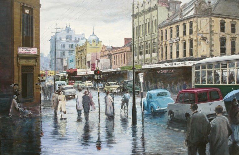 Rainy Day in Elizabeth Street, Hobart c.1957