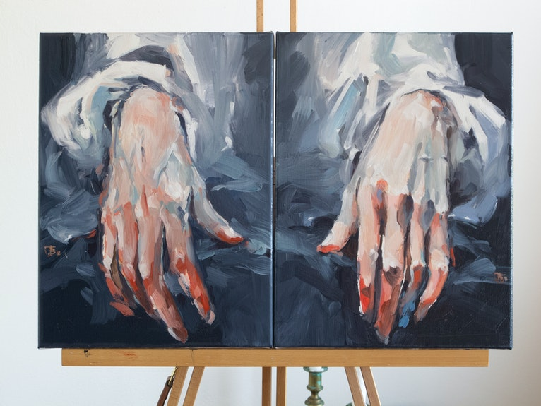 Self Portrait with Hands (Tribute to F.Hals)
