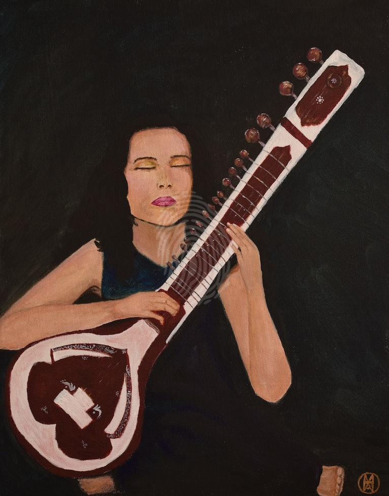 Portraiture of a Sitar Player