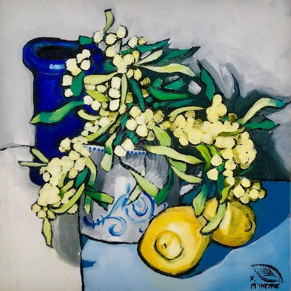 Wattle, lemons and blue vase; Framed Large (1 m) Giclee print (reserved) Ed. 1 of 15