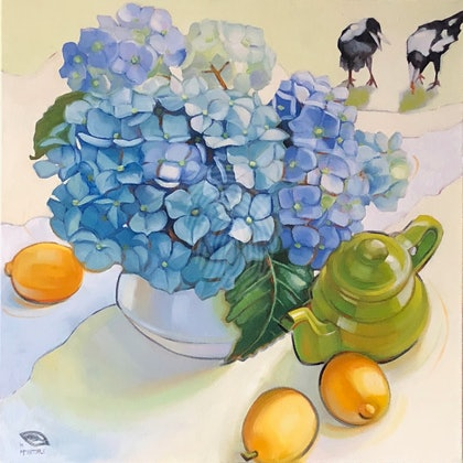 Tea time with Maggie; Large (1 m square) framed giclee print Ed. 1 of 15