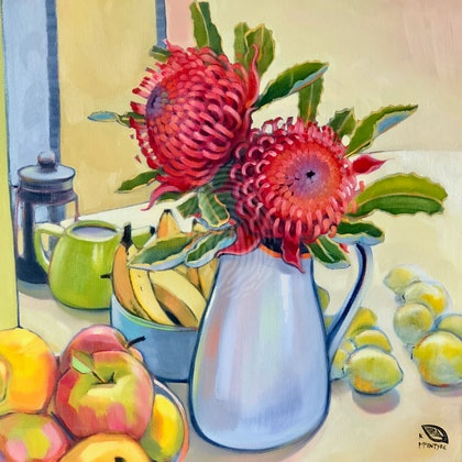 Kitchen waratahs; Large (1m square image) framed Giclee print - Copy Ed. 2 of 15