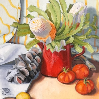 Banksias and tomatoes; Large ( 1 m square image ) giclee print of an original painting Ed. 1 of 15