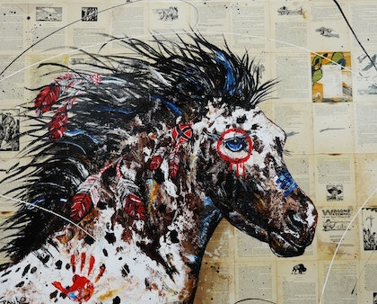 Ahiga War Horse 150cm x 120cm      #arrives ready to hang books on canvas