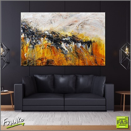 Sienna Black 160cm x 100cm #Large Abstract heavily textured   - Copy