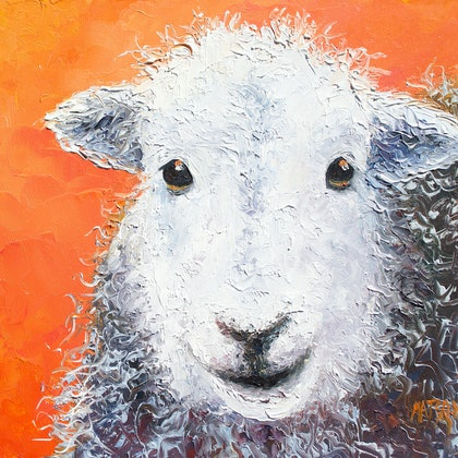 Sheep on orange background - FRAMED