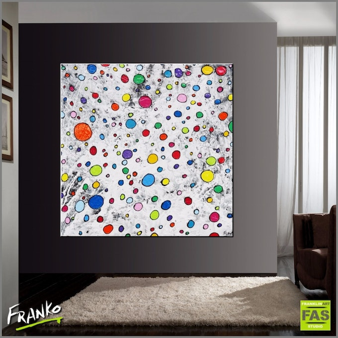 Fruitloops 150cm x 150cm large abstract heavily textured   franko  bluethumb art 75b2
