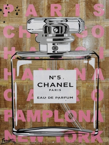 "Chanel CC  75cm x 100cm (on a VINTAGE 1939 copy of ""Gone with the wind"")  # no further framing needed"