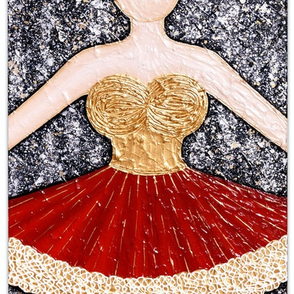 Ballerina Dancer (reds) - textural abstract (commission)