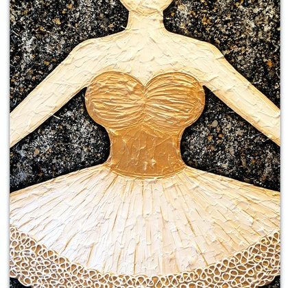 Ballerina Dancer (golds) - textural abstract (commission)