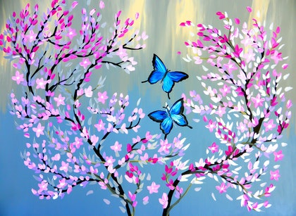 Butterflies with Cherry Blossom and Grey Background