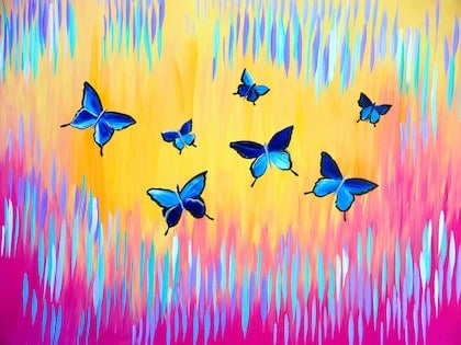 Blue Butterflies with Bright Abstract Painting