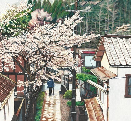 Passing by Cherry Blossoms - STRETCHED CANVAS Limited Edition Print Ed. 4 of 50