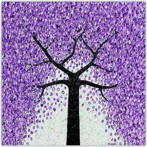 Jacaranda tree falling flowers textural abstract miranda lloyd bluethumb art a95b
