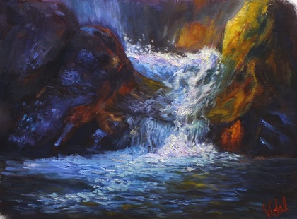 Falls at the lower chasm - oil on loose canvas