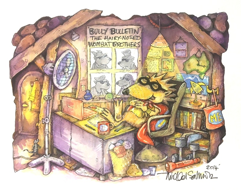 'Eric, The Masked Echidna - at work'