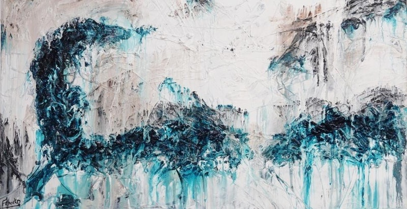 Eastern Scrawl HUGE 160cm x 100cm textured  turquoise  teal jade Abstract