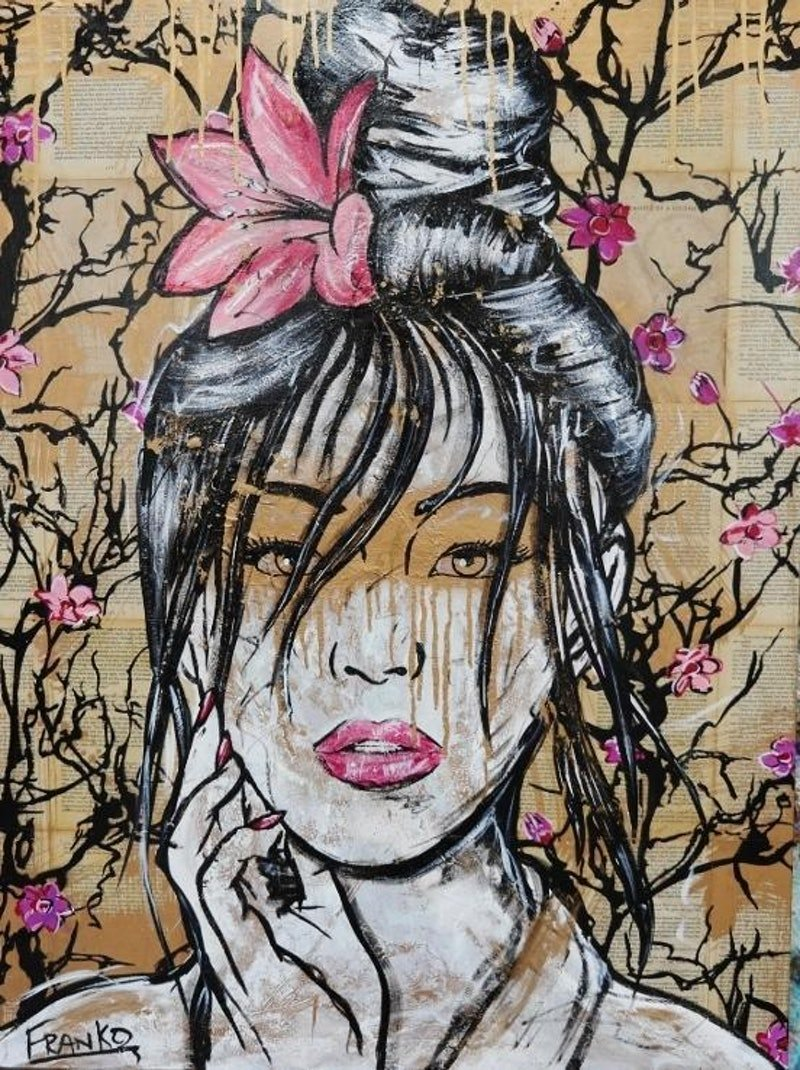 """Golden Honey"" 75cm x 100cm Memoirs of a Geisha pages on Canvas No further framing needed pop art face gold metallic"