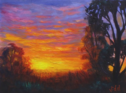 Outback sunset - oil on loose canvas