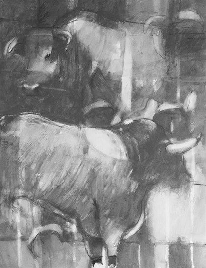 "Graphite Series -Painting 9   "" Stacked Bulls  """