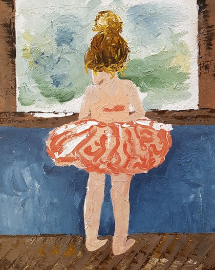 'Waiting' - Little Ballerina Gazing Out of Window