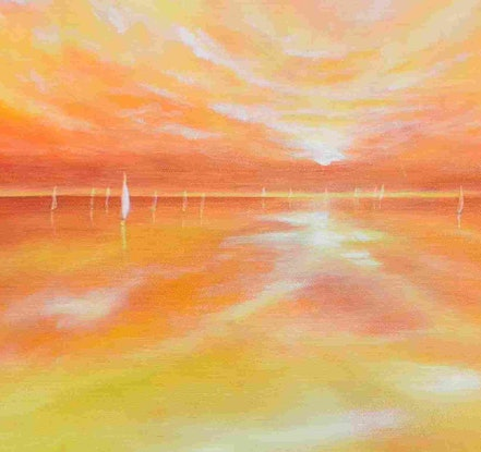 (CreativeWork) WHITE SAILS by Janette Hafez. Oil Paint. Shop online at Bluethumb.