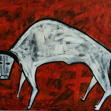 (CreativeWork) Bull by Mary Lewin. Acrylic Paint. Shop online at Bluethumb.
