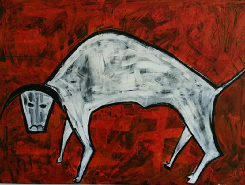 (CreativeWork) Bull by Mary Lewin. arcylic-painting. Shop online at Bluethumb.