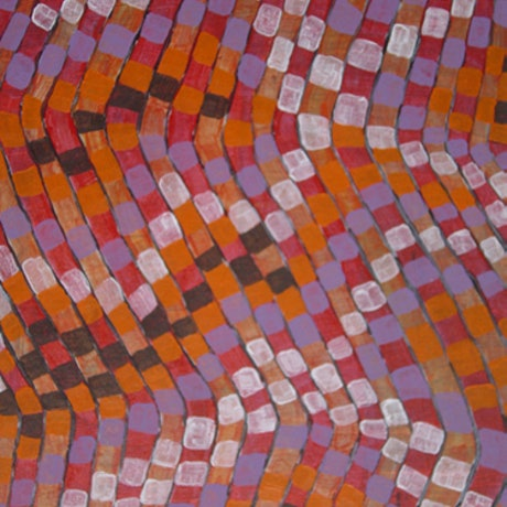 (CreativeWork) Life in orange and purple by Mary Lewin. Acrylic Paint. Shop online at Bluethumb.