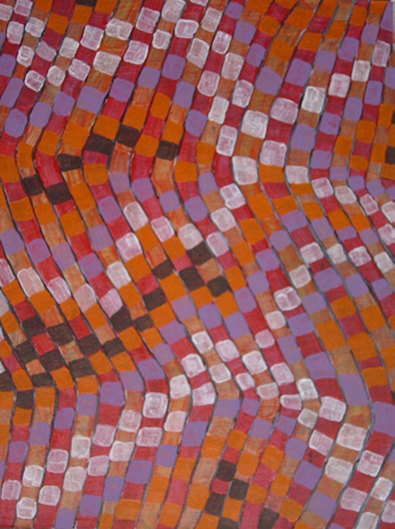 (CreativeWork) Life in orange and purple by Mary Lewin. arcylic-painting. Shop online at Bluethumb.