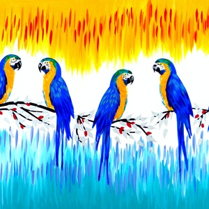 (CreativeWork) Macaws - Remembering America by Cathy Jacobs. arcylic-painting. Shop online at Bluethumb.