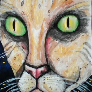 (CreativeWork) Night cat borris by Sarah Crane. mixed-media. Shop online at Bluethumb.